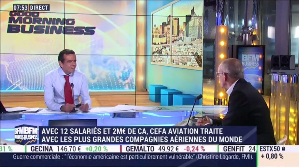 Dominique Mineo, CEO of CEFA Aviation, on BFM Business in a live interview with Stéphane Soumier